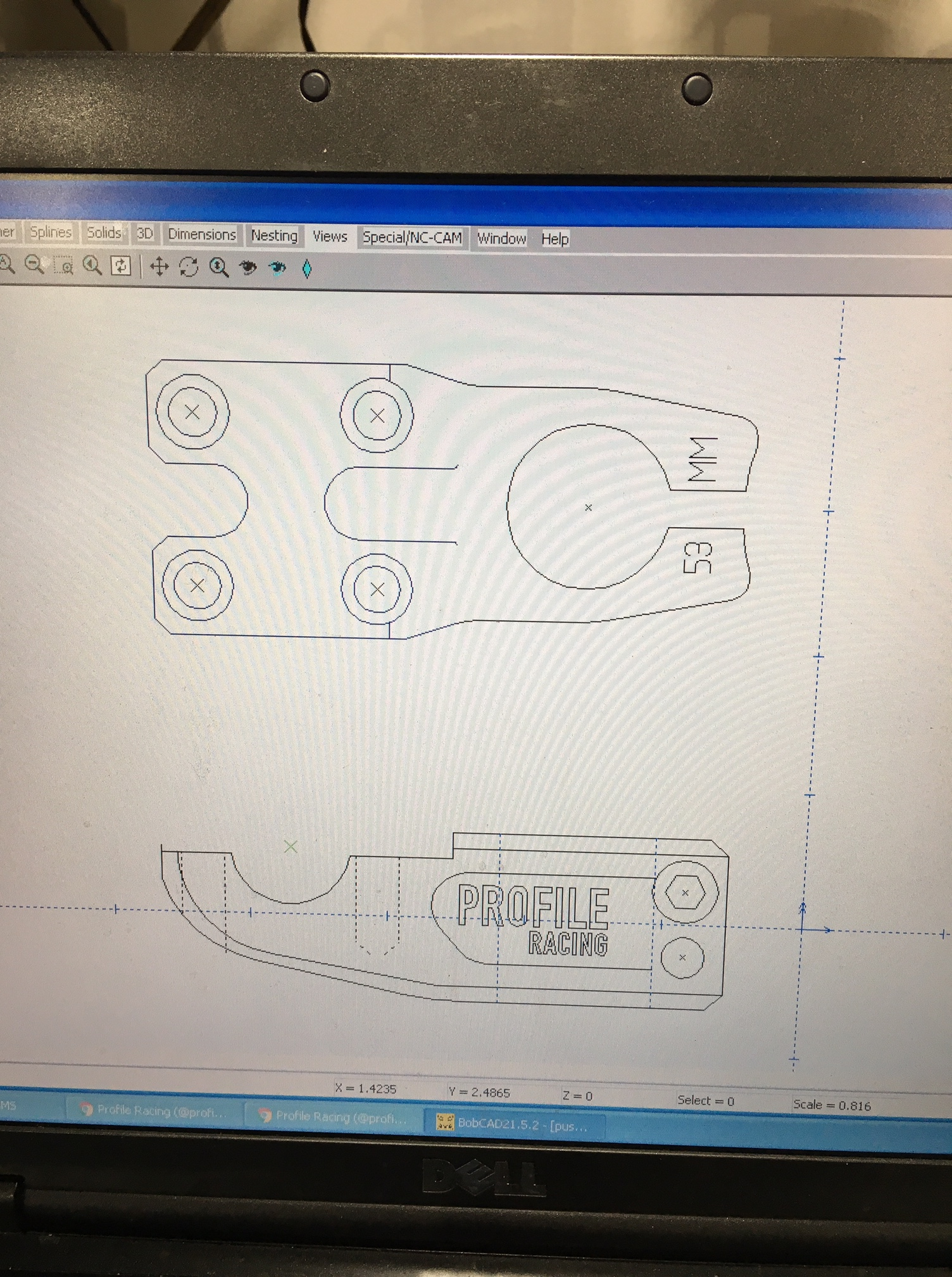 OG CAD drawing of Mulville's Push Stem (Late 08')