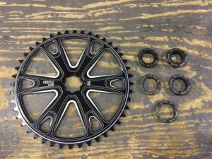 Profile's Sabre Sprocket. Your choice of Universal Spline inserts in 19mm bolt-on or spline drive, 22mm bolt-on or spline drive, and 24mm bolt-on. Inserts sold separately.